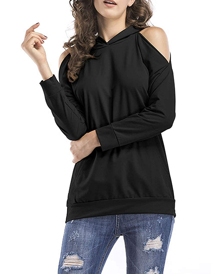 MaiS Womens Casual Tee Off Shoulder Solid Color Hooded Long Sleeve Tops Tshirts Hoodie Sweatshirt with Pocket