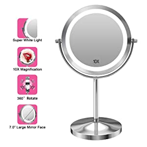 Gospire 10x Magnified Lighted Makeup Mirror Double Sided Round Magnifying Mirror Standing 360 Degree Swivel Vanity Mirror Battery Operated 7 Inch Diameter Shaving Bathroom Mirror