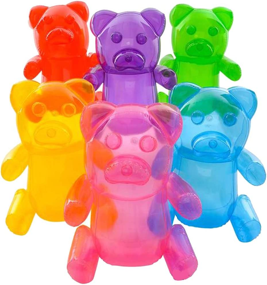 ; Girls Party Favors; Party Decor 6-Pack Kangaroos HUGE 24 Inflatable Gummy Bears Fun Colors