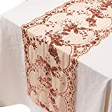 Crisky Chiffon Embroidery Flower Sequin Table Runners ROSE GOLD 12 X 108 Inch Glitter ROSE GOLD Table Runner-Sparkle ROSE GOLD Party Supplies Fabric Decorations For Wedding Birthday Baby Bridal Shower