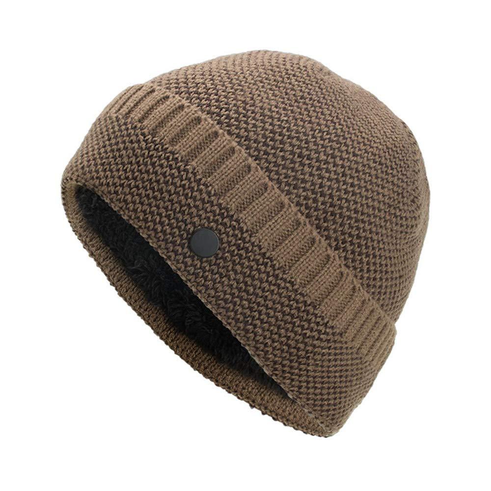 WUAI Clearance Men's Winter Knit Warm Hat Baggy Ski Wool Slouchy Beanie Skull Cap (Khaki)