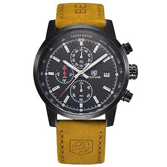 8bd91136f3b BENYAR Fashion Men s Quartz Chronograph Waterproof Watches Business Casual  Sport Design Brown Leather Band Strap Wrist