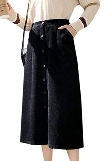 171b8a4740 X-Future Women's Elastic Waist Corduroy Button Down High Waisted Midi Skirt  with Pockets at Amazon Women's Clothing store: