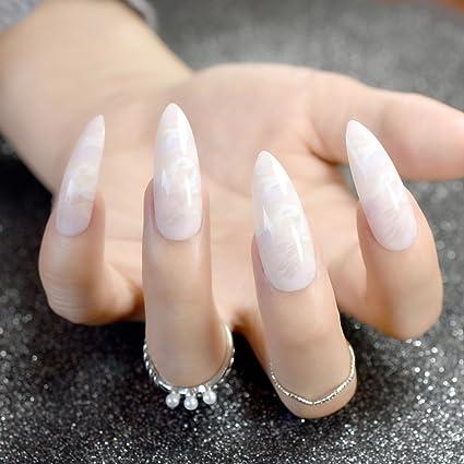 Sharp Z750 - Kit de uñas artificiales extra largas, diseño de mármol natural, acabado