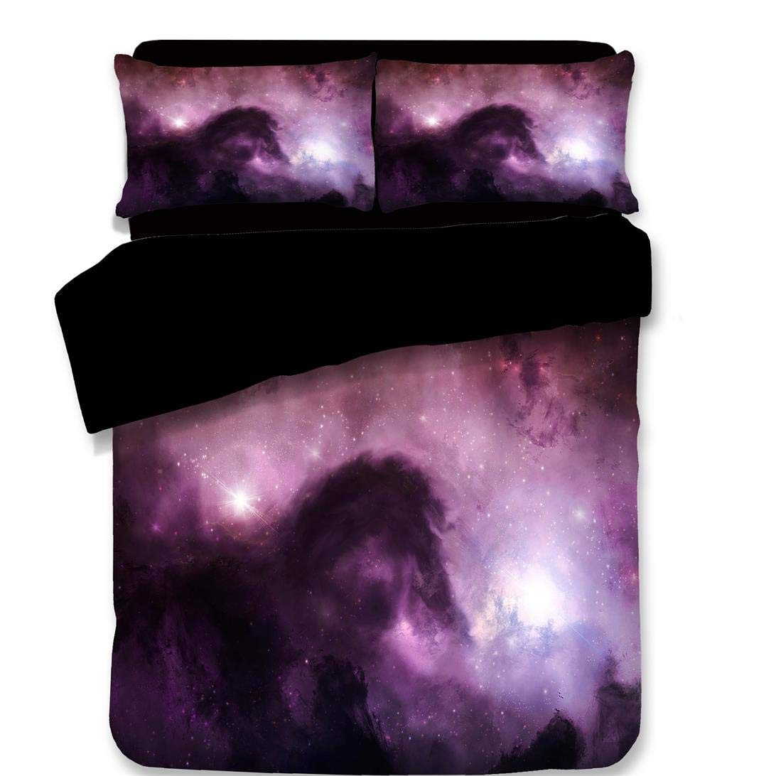 3D 3 Piece Complete Bedding Hd Cosmic Starry Sky Comfortable Super Soft Set Student Dormitory Bedroom Single Double Bed Quilt Cover - Purple,Full HXZB