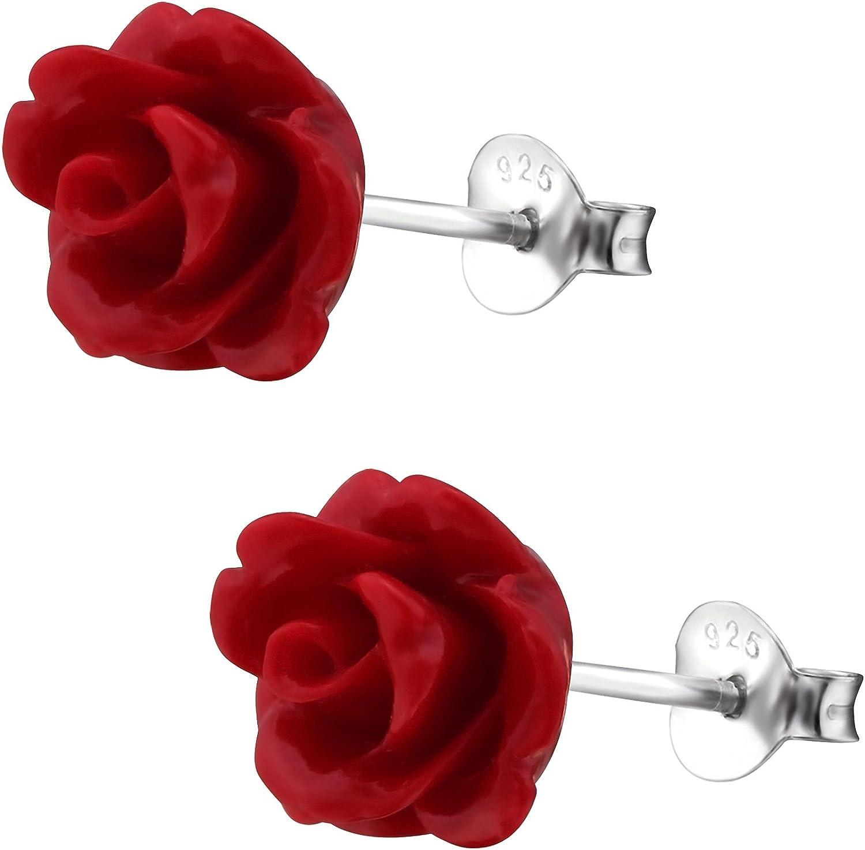 EYS Jewelry – Rosas de flores Mujer Pendientes Plata de ley 925 10 mm Rojo Pendientes de mujer joyas: Amazon.es: Joyería
