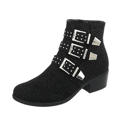 Cingant Woman Damen Stiefelette/Profilsohle/Blockabsatz/Halbhohe Stiefel/Damenschuhe/Boots/Silber, EU 38