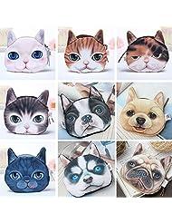 OURBAG Lovely Dog Cat Face Print Coin Bag Wallet Girl Change Pocket Purse Handbag Pouch Hot 1pcs