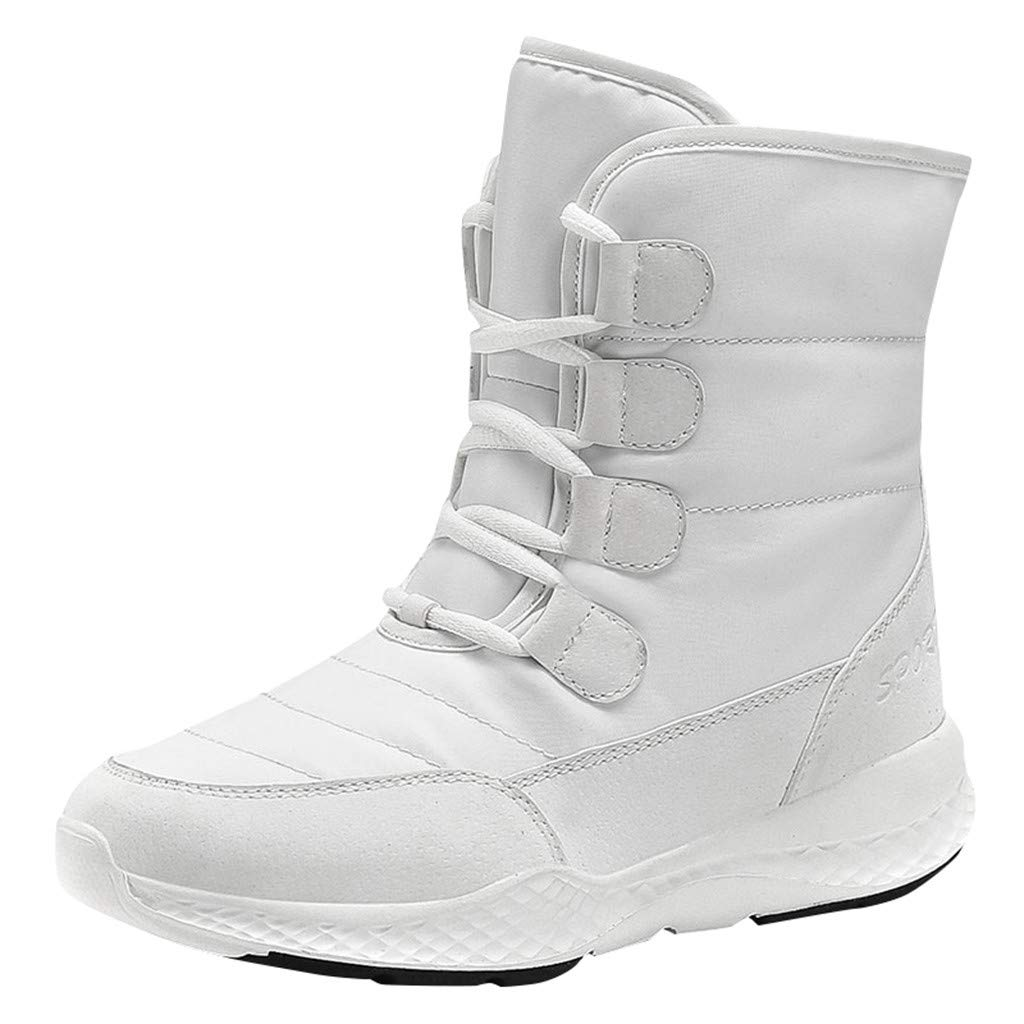 Women Snow Boot Sneakers | Ladies Warm Winter Fur Lining Insulated Ankle Boots | Casual Lace-Up Slip Resistant Waterproof Booties Shoes by Leadmall-Boot