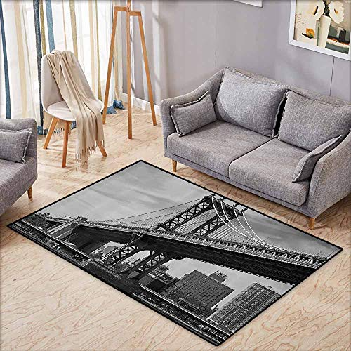 Interior Door Rug Bathroom Rug Slip New York Bridge of NYC Vintage East Hudson River Image USA Travel Top Place City Photo Art Print Grey Non-Slip Backing W6'5 -