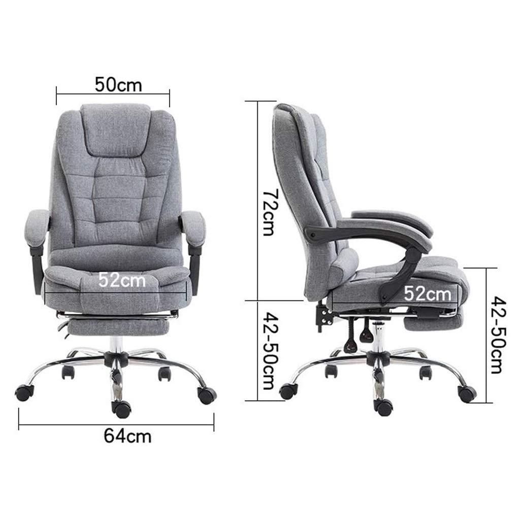 ZHAN YI SHOP kontorsstol, tyg vilande chef stol, lyft och 360° rotation svängbar stol, platt vilande datorstol, spelstol mjuk och bekväm, för hem och kontor (färg: svart) Brun