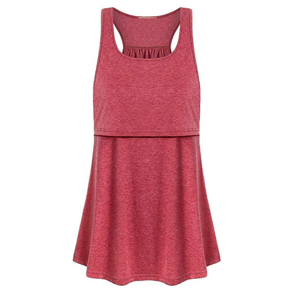 vermers Womens Maternity Tank Tops Casual Loose Comfy Pull-up Nursing Tanks Breastfeeding Vest T Shirt Pregnant Clothes(S,Pink) by vermers Maternity (Image #2)