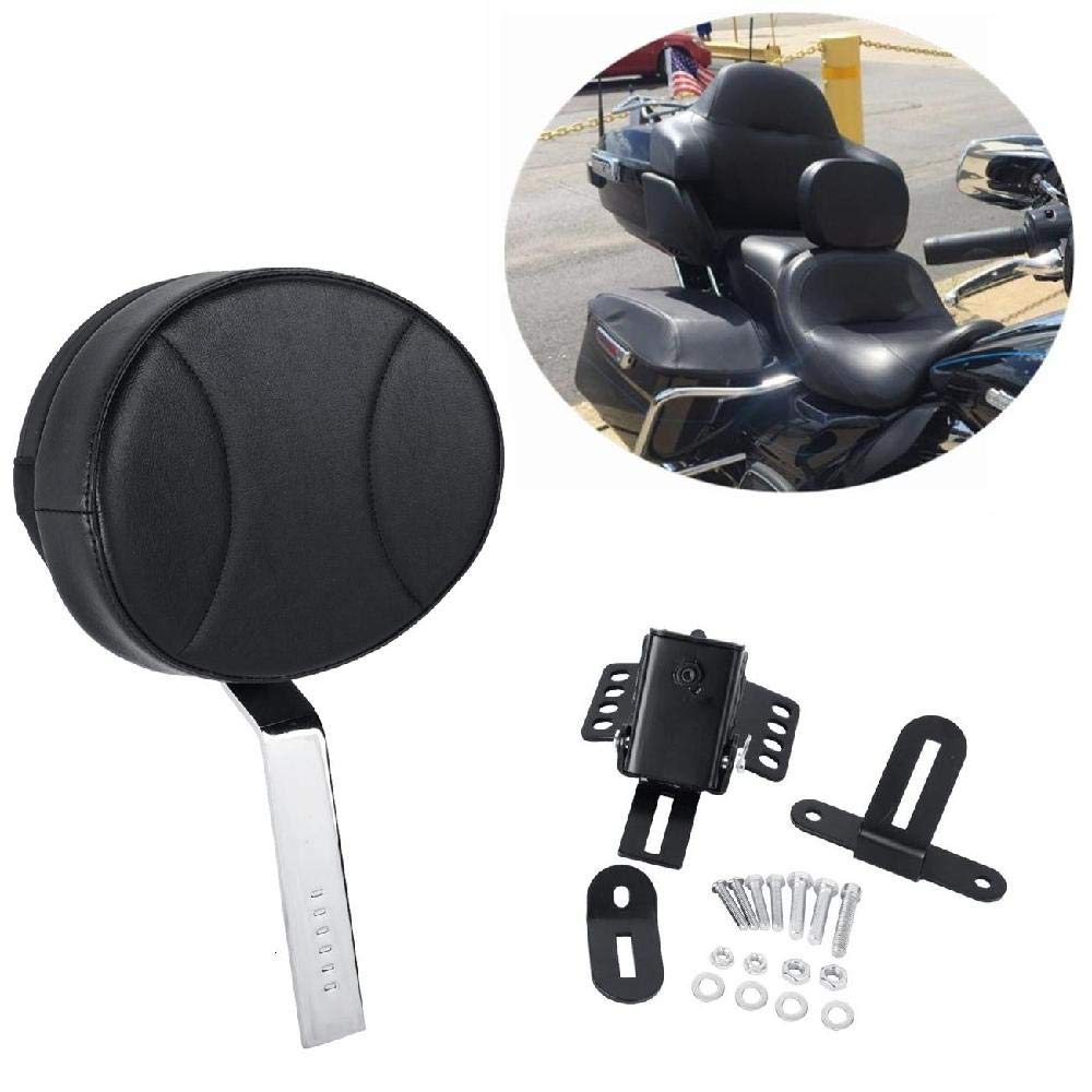 Black-C OXMART Motorcycle Backrest Sissy Bar with PU Pad Detachable Storage Pocket Adjustable Driver Backrest Fit for Harley with One-Piece Slotted Seat