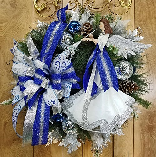 Handmade Sparkling Blue and Silver Angel Wreath, Christmas or Winter Ice, Triple Bow Swag, Trumpet, Wings, Ornaments, Iced Pine Cones, Holiday, Holly (Glittered Holly)
