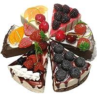 Set of 6 Simulation Cakes Triangle Mousse Fruit Desserts Model Pretend Cakes