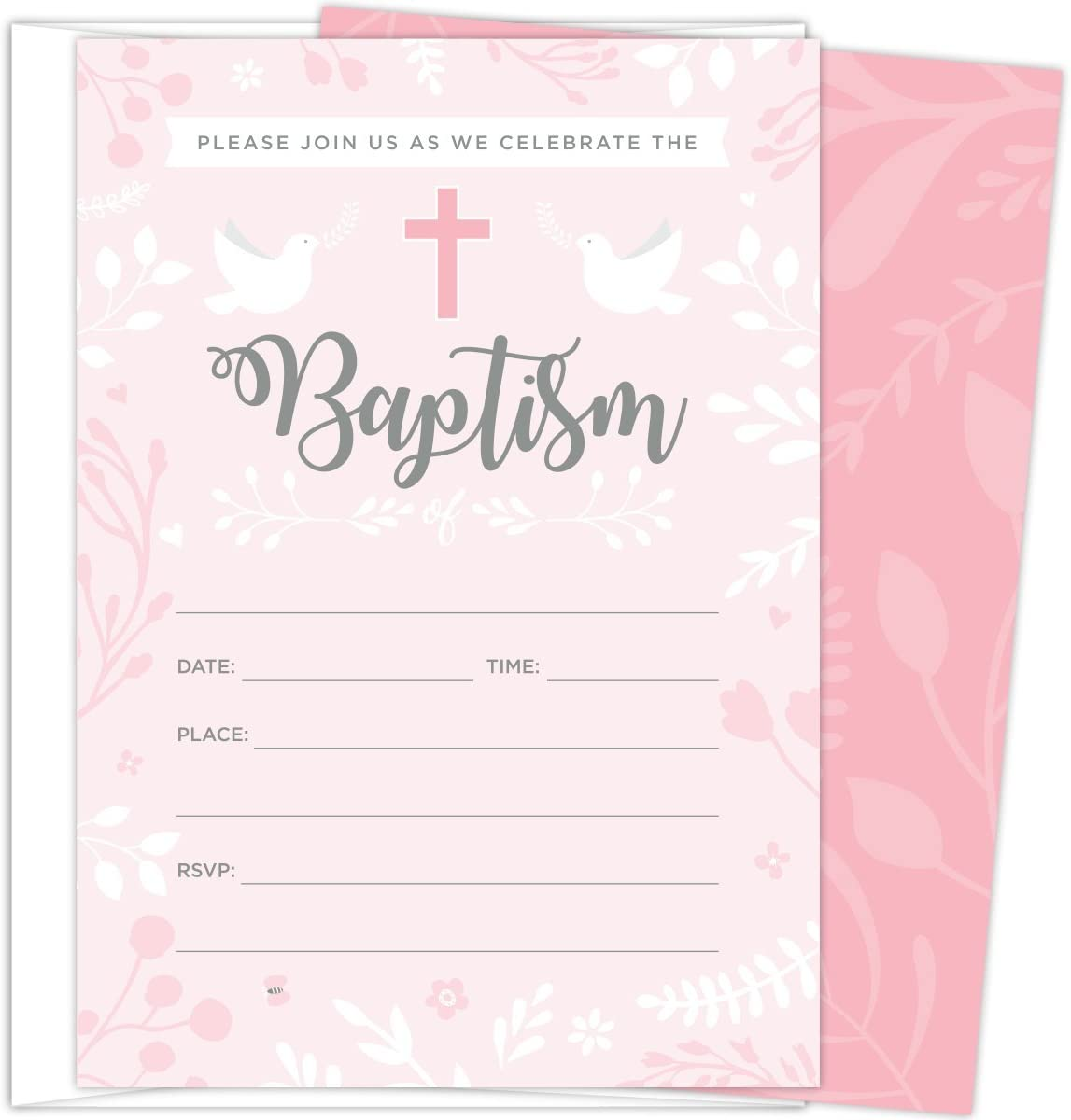 Cute Baby design 16 A6 Christening Invitations With or without Envelopes