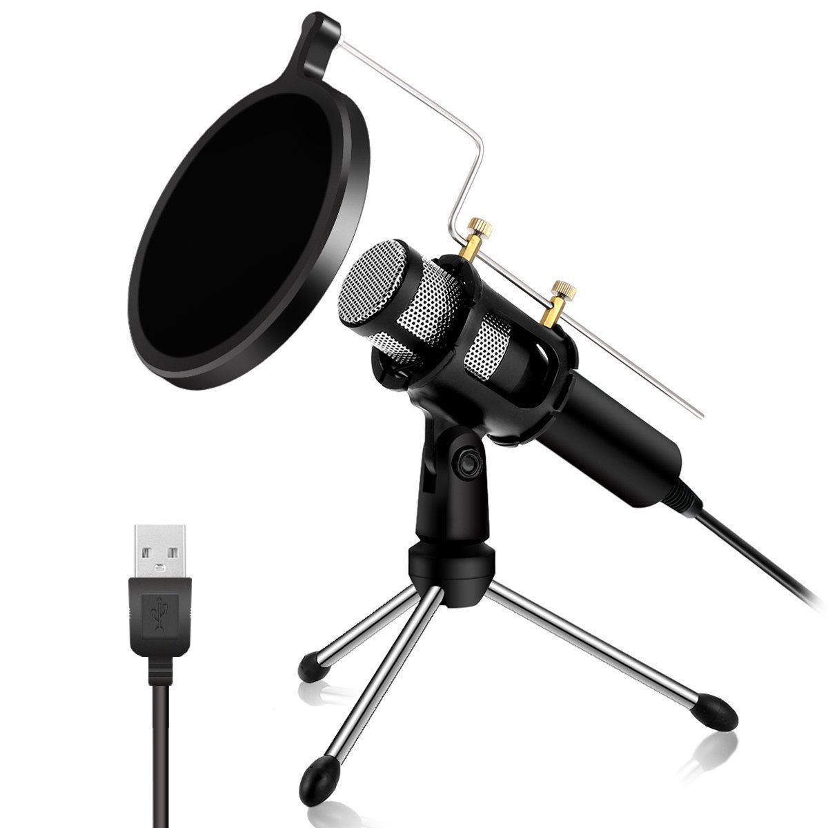 Professional Condenser Microphone - NASUM USB Plug &Play Home Studio microphones, dual-layer acoustic filter, YouTube, Facebook, podcasting, games (Windows/Mac)