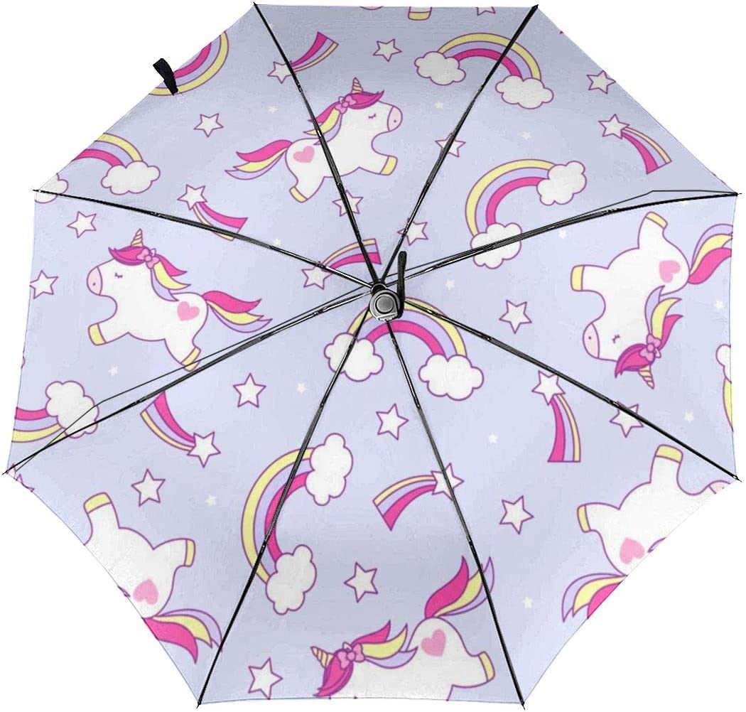 Cute Pandas And Hearts On A Blue Automatic Open Folding Compact Travel Umbrellas For Women