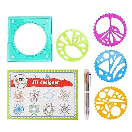 Niños regla geométrica, niños plantilla de regla geométrica de plástico Herramienta de dibujo en espiral