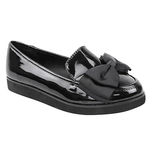 Mujer Niña Bajos Dollie Bailarinas Creepers Grueso Cuña Plataformas Trabajo Colegio Zapatos Talla - Charol Negro