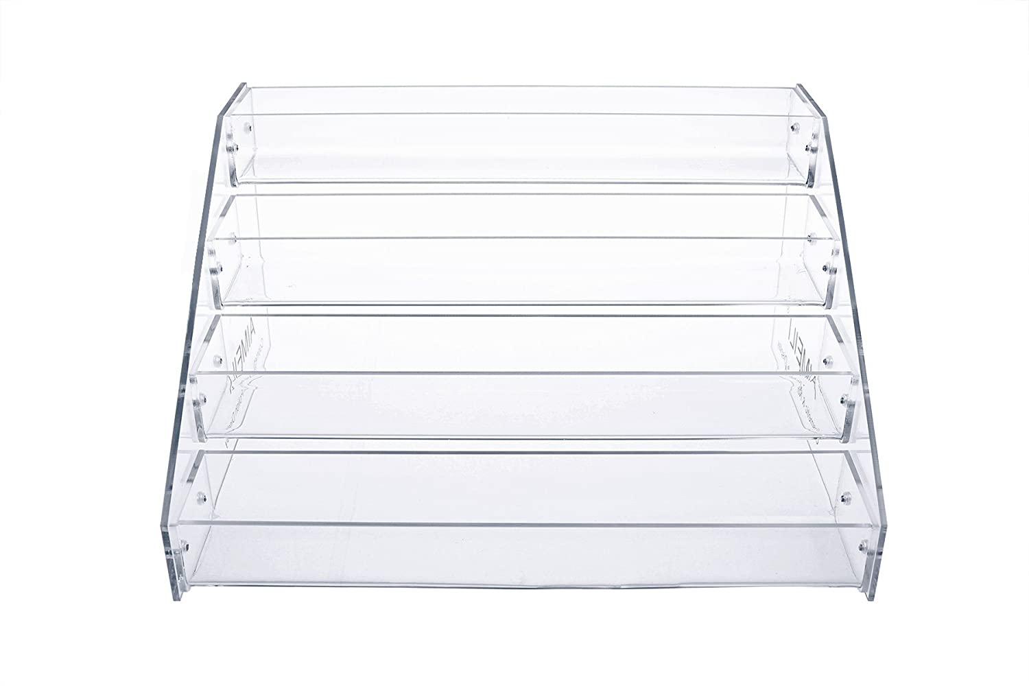 AIMEILI 4 Trays Clear Acrylic Cosmetic Organiser & Gel Nail Polish Display Stand Holder