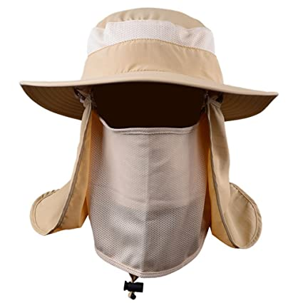 BESYL Khaki Outdoor Sun Protection Fishing Cap Neck Face Flap Hat Wide Brim 2b3e21e0749b