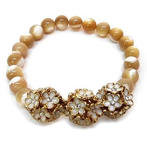 Bracelet En Pierre Femme Blanc Perles Beige Élastique Petites Fleurs gY6f7ybv