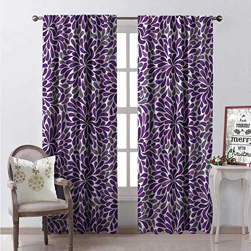 Hengshu Purple Blackout Window Curtain Teardrop Shapes Floral Themed Arrangement Abstract Botanical Garden Customized Curtains W108 x L84 Purple Purple Grey