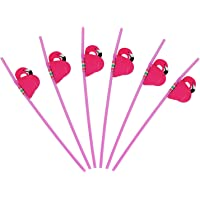 Haundry 50 Pink Flamingo Straws, Plastic Drinking Straws for Lula Party Supplies/Hawaiian/Birthday/Pool Party…
