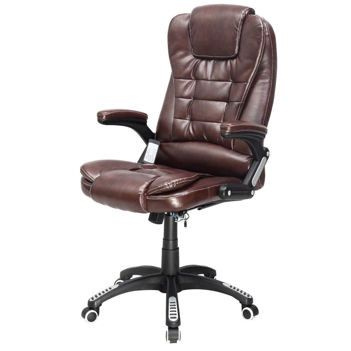 Goplus Brown Executive Ergonomic Computer Desk Massage Chair Vibrating Home Office New
