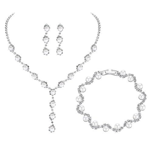 e6904ea4e65 mecresh Bridal Women Pearl Crystal Jewelry Sets for Wedding - (1 Set  Earrings,1 PCS Necklace, 1PCS Bracelet)