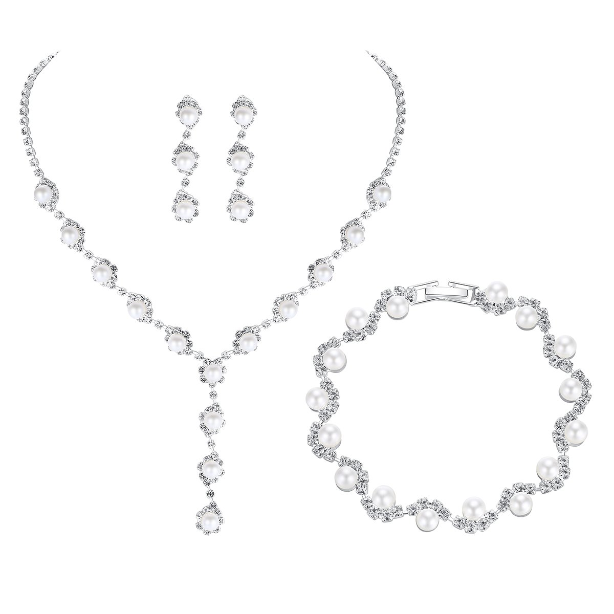 mecresh Wedding Bridal Pearl& Crystal Jewelery sets for Women (1 Set Earrings,1 PCS Necklace, 1PCS Bracelet)