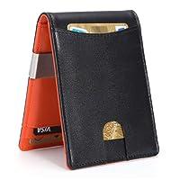 Carteras para Hombre RFID que Bloquean el Dinero Clip de Doble Pliegue Delgado Genuino Billetera de Cuero para Hombres con Ranura para Tarjeta de Crédito en La ventana con ID De bolsillo