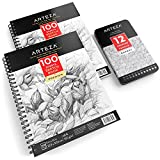"ARTEZA Sketcher's Delight Bundle, Two 9x12"" Sketch Books & 12 Sketch Pencils - 100 Acid-Free Sheets Each, 6B-4H Medium Degrees, Ideal for Dry Media"