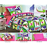 Girl's Hot Pink Unicorn Patchwork Print Comforter Set, Girl's Twin Size Bed in a Bag, 5 Pieces