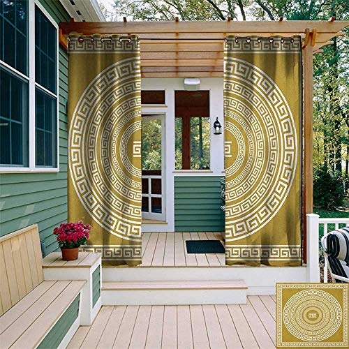 Greek Key, Outdoor Curtain Extra Wide, Frieze with Vintage Ornament Meander Pattern from Greece Retro Twist Lines, Outdoor Patio Curtains W120 x L108 Inch Goldenrod White