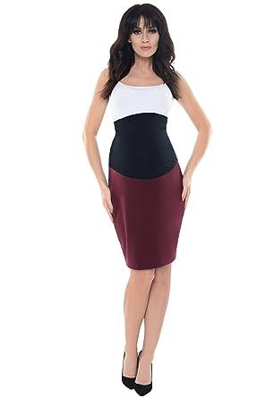 e01bbf34dda4c Purpless Maternity Formal Pencil Midi Skirt Over Under Belly Office Work  1504 (4, Burgundy