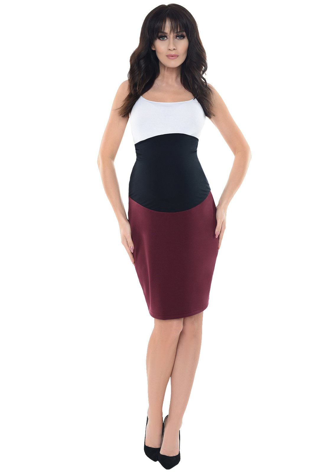 Purpless Maternity Pregnancy Formal Pencil Skirt 1504 (6, Burgundy)