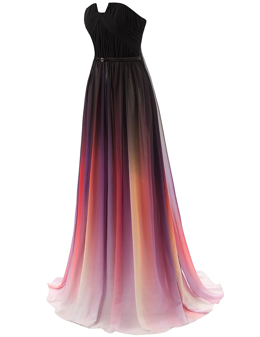 JAEDEN Gradient Prom Dress Formal Evening Gowns Chiffon Long Prom Party Dresses Black US24W: Amazon.co.uk: Clothing