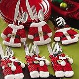 Zogin Lot de 6pcs Porte-Couverts Serviette Couteaux Fourchette Cuillère en Forme de Costume Père Noël Mignon pour Décoration de Cuisine Table Réveillon Noël (3 vestes 3 pantalons)