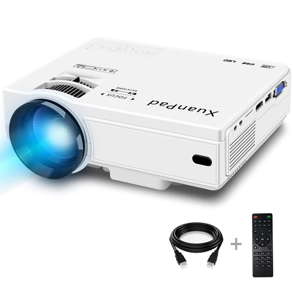 XuanPad Mini Proiettore 2400 Lumens, 55000 ore Portatile Videoproiettore Home Theater Proiettori, compatibile con Amazon Fire TV Stick1080P HDMI VGA USB HHLX