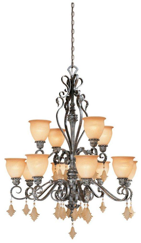 Vaxcel USA MMCHU012AE Montmarte 12 Light Chandelier Lighting Fixture in Bronze, Glass