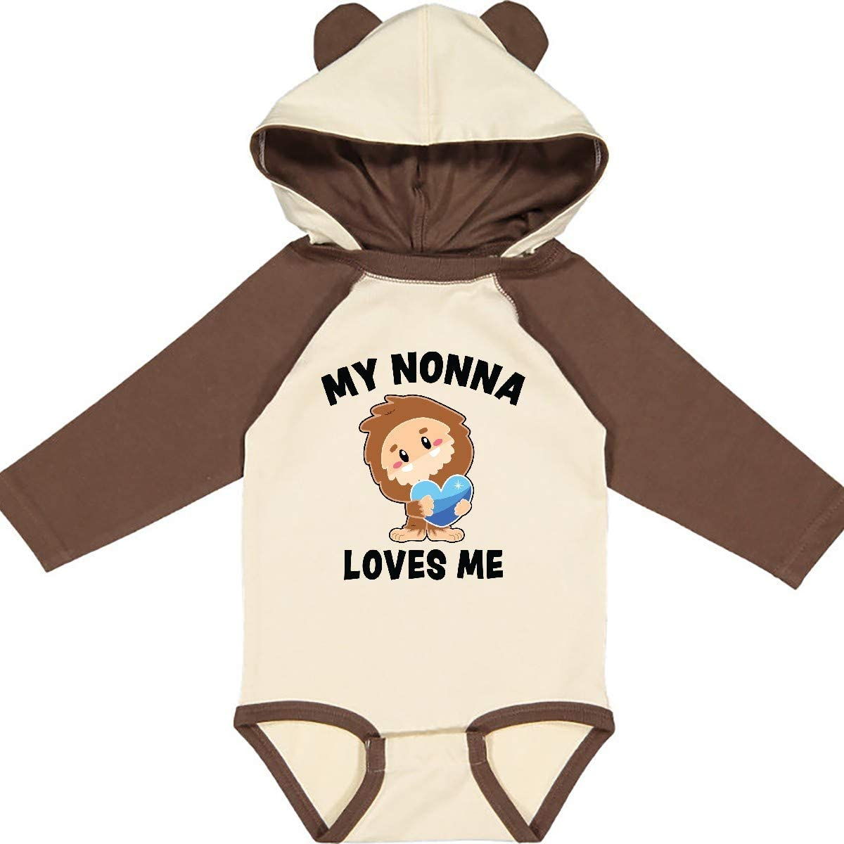 inktastic Cute Bigfoot My Nonna Loves Me Long Sleeve Creeper