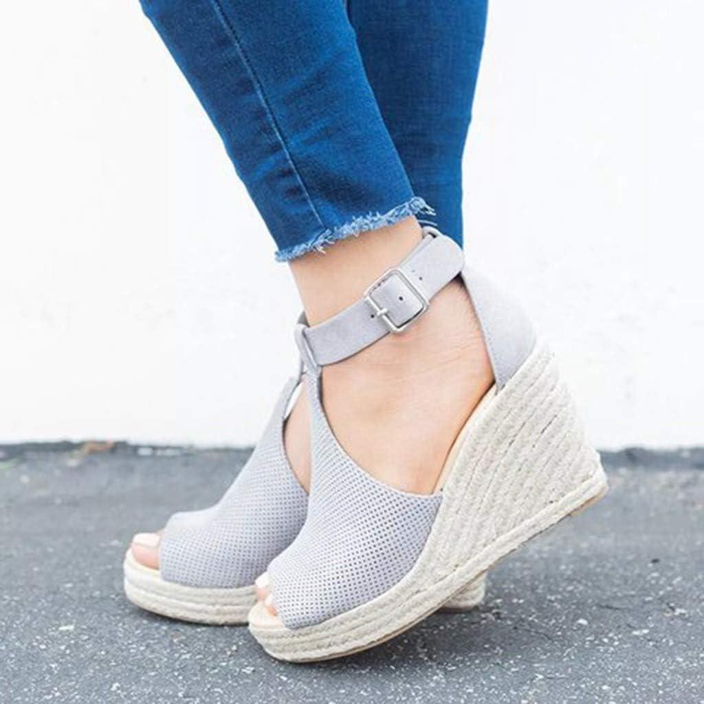 Alaso - Sandalias de mujer a la moda con tacón, plataforma de verano, informal, romanas, zapatos de viaje 35-43 gris 41: Amazon.es: Ropa y accesorios