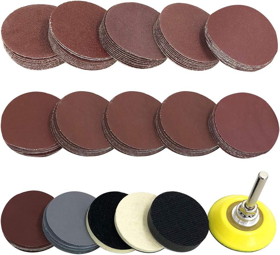 120pcs 2in Sanding Discs pads 60-3000 Grit Polishing Pad Sandpaper Tool
