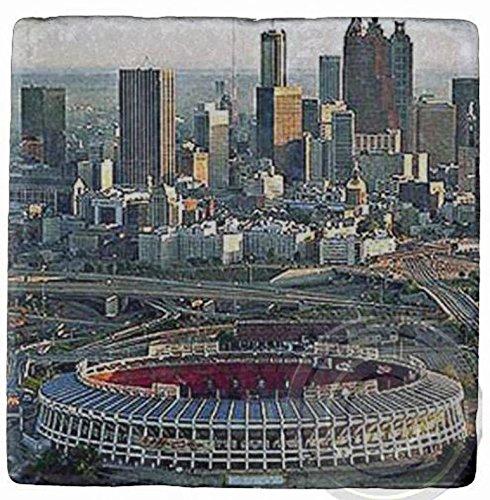 Stadium Atlanta Fulton (Fulton County Stadium, Atlanta,Landmark. Marble, Stone, Coaster. Mix and Match To Make A Set.)