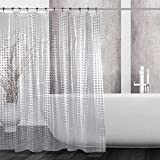 Kilokelvin EVA Shower Curtain 3D Effect Mildew Resistant Waterproof Water-Repellent Antibacterial with 12 Metal Rings, 72x72 Inches- 3D Lattice