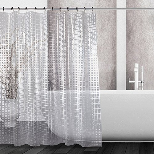 Kalokelvin EVA 5G Shower Curtain Liner Waterproof with 12 Metal Hooks 72x72 Inches - 3D Lattice - Plastic Curtain Transparent