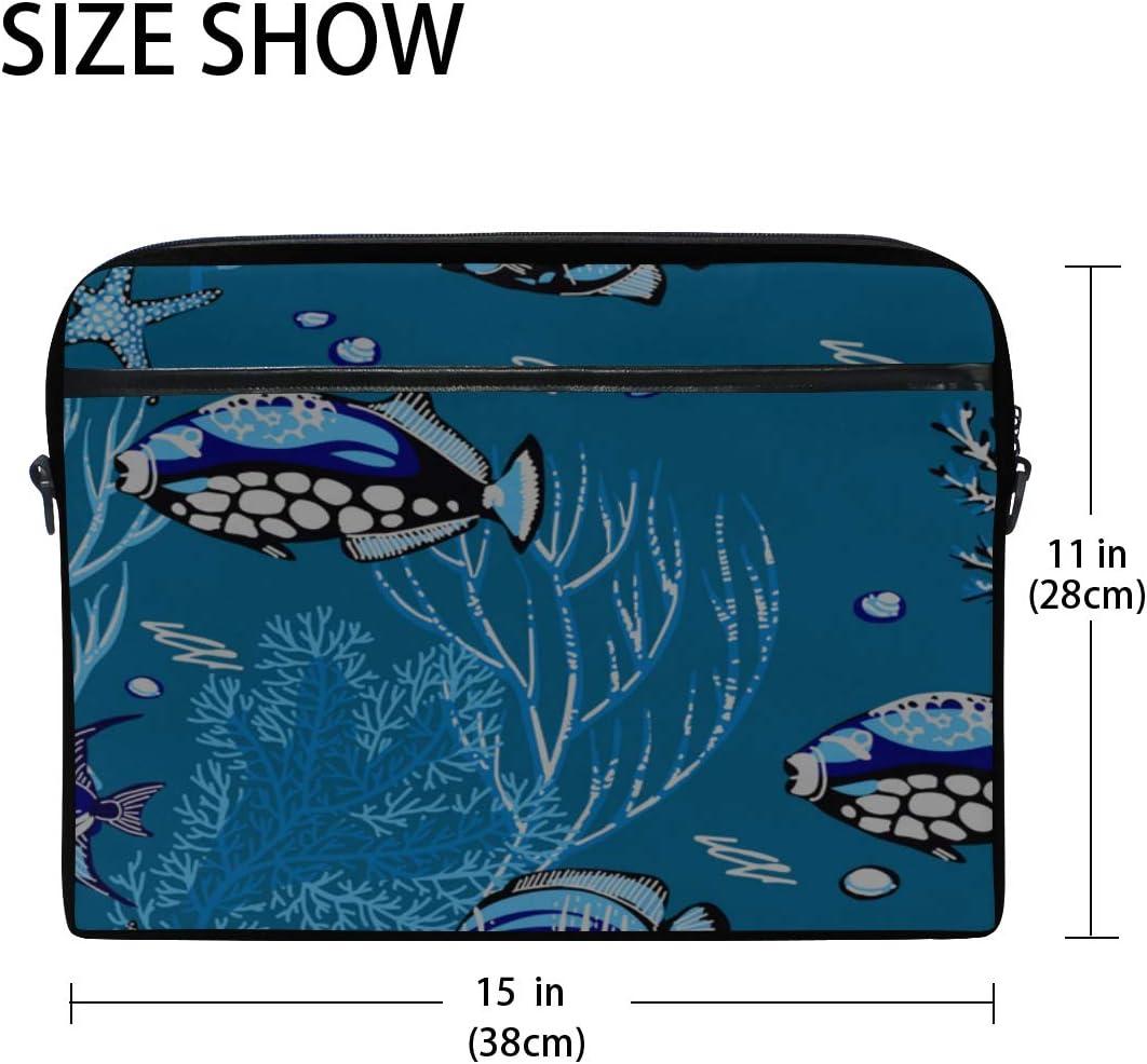 Briefcase Messenger Shoulder Bag for Men Women Laptop Bag Sea Corals Starfishes Tropical 15-15.4 Inch Laptop Case College Students Business People