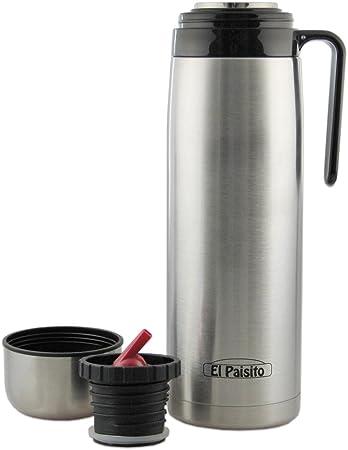 El Paisito Termo - Jarra de acero inoxidable para té mate (1 L, 8 x 8 x 30 cm), color plateado: Amazon.es: Hogar